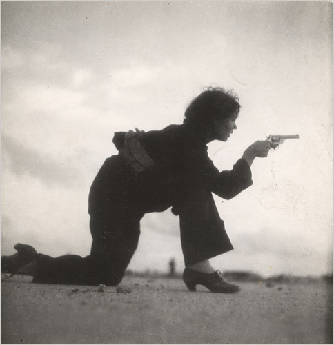 Gerda Taro, Republican militiawoman training on the beach, outside Barcelona, August 1936.  International Center of Photography