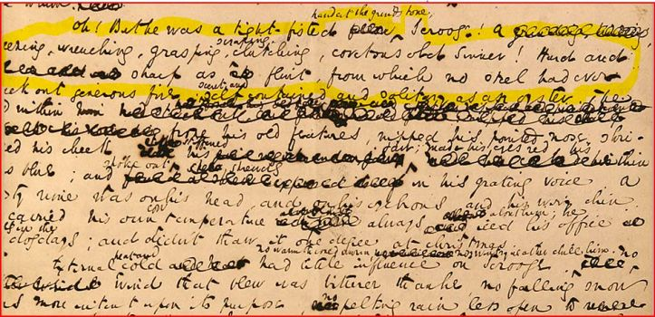 Charles Dickens, A Christmas Carol, il manoscritto