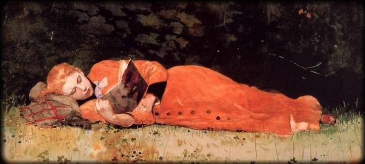Winslow Homer, The New Novel, acquerello 1877