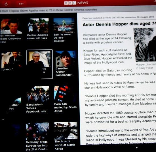 L'applicazione iPad della BBC News