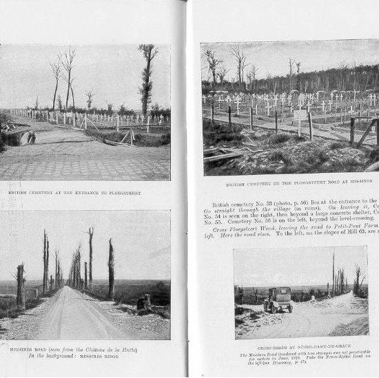 Due pagine della guida, i campi sono ancora devastati, gli alberi bruciati, i cimiteri ancora 'provvisori'