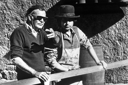 Bob Dylan con Sam Peckinpah sul set di Pat Garret & Billy the Kid, 1973