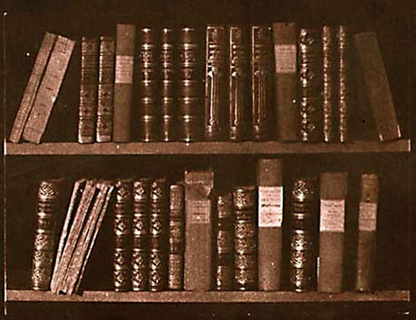 """Scene in a Library""  Salt print from a calotype negative, early 1840s. 13.2 x 18.0 cm.  From the negative in the NMPFT, 1937-1301. Schaaf 18"