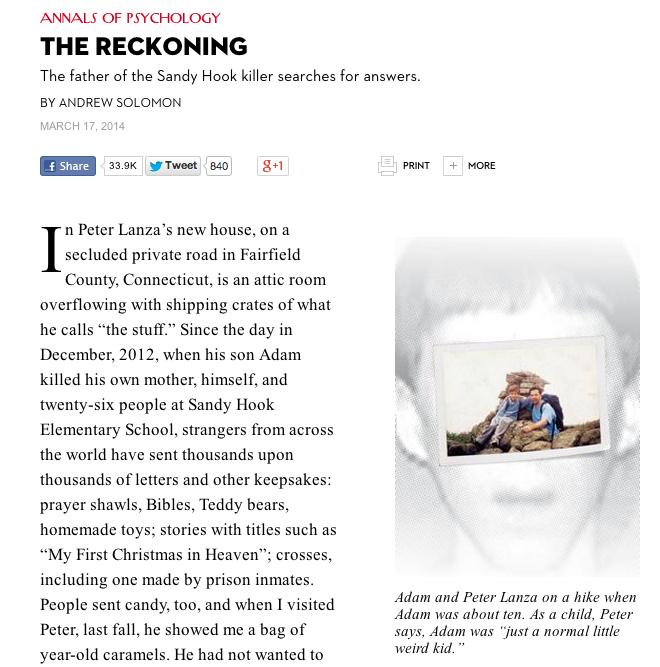 """La versione online dell'articolo di Andrew Solomon, """"The Reckoning"""""""