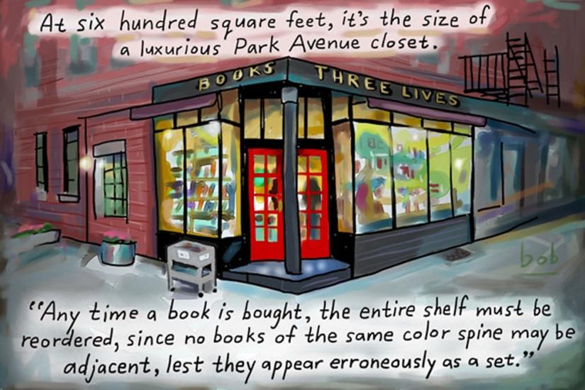 La Books Three Lives disegnata da Bob Eckstein (NewYorker.com)