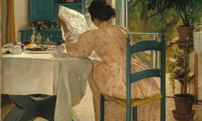 At the Breakfast Table with the Morning Newspaper, L. A. Ring, 1898