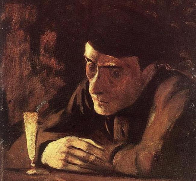 Laszlo Mednyanszky, Bevitore di assenzio 1898 - Wikiart