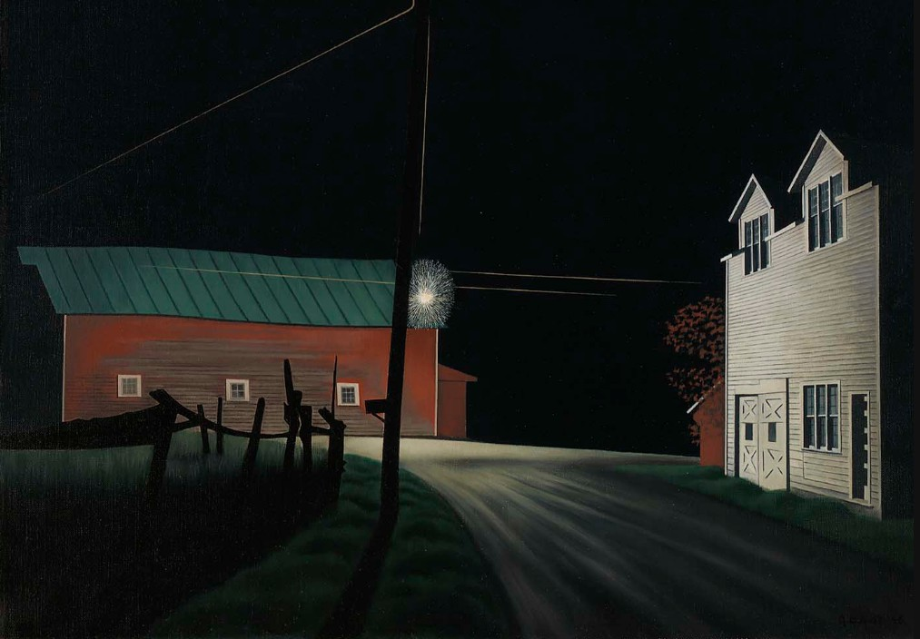 George Ault, Bright Light at Russell's Corners, 1946 (Wikiart)